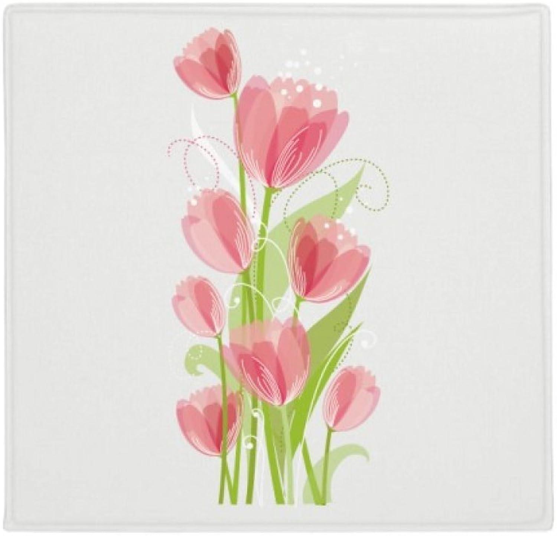 DIYthinker Planta Pet Square Alfombra de su casa Puerta de la Cocina 80cm Regalo ilustración Flor de la Planta tulipán Antideslizante 80 X 80cm
