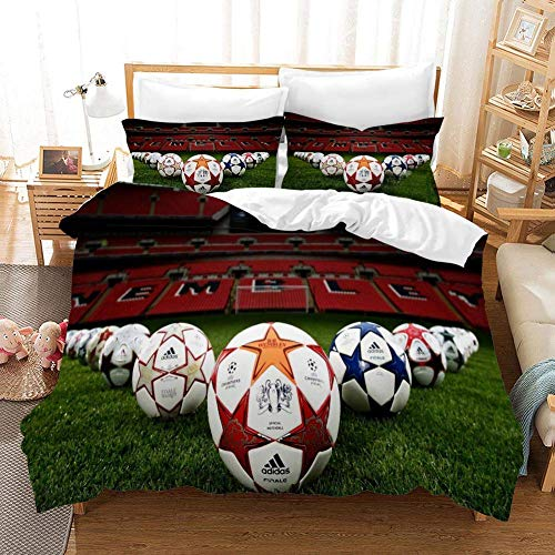 695 Duvet Cover Sets 3D Football Logo Printing Cartoon Bedding Set With Zipper Closure 100% Polyester Gift Duvet Cover 3 Pieces Set With 2 Pillowcases D-AU Queen83*83'(210 * 210cm)