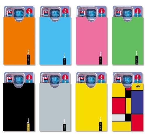 cardbox FARBSET /// Motive: Farben (orange, blau, pink, grün, schwarz, grau, gelb & Mondrian) /// 8er Set /// für Jede Karte im Scheckkartenformat eine eigene Hülle