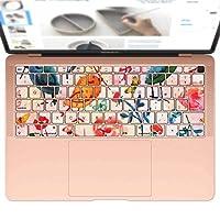 igsticker MacBook Air 13inch 2018 専用 キーボード用スキンシール キートップ ステッカー A1932 Apple マックブック エア ノートパソコン アクセサリー 保護 014411 花 フラワー 鳥