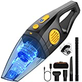 Handheld Cordless Vacuum Cleaner,Oudekay 10kPa High Power Portable Hand Vacuum Cordless Rechargeable Wet Dry Vacuum with Stainless Filter 3*2600 mAh Lithium Battery Hand Vac for Car Pet Hair(2 Speeds)