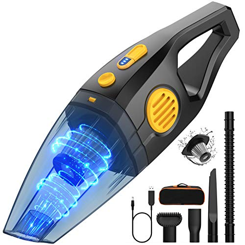 Handheld Cordless Vacuum Cleaner,Oudekay 10kPa High Power Portable Hand Vacuum Cordless Rechargeable Wet Dry Vacuum with Stainless Filter 3X2600 mAh Lithium Battery Hand Vac for Car Pet Hair(2 Speeds)