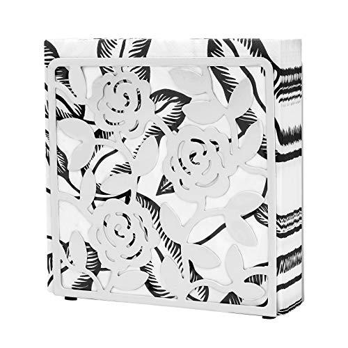 Napkin Holder, Metal Kitchen Tissue Dspenser for Table, Home, Countertops, Dining, Picnic, Restaurant, Freestanding Cast Iron Décor Tabletop Paper Holder (White, Dining)