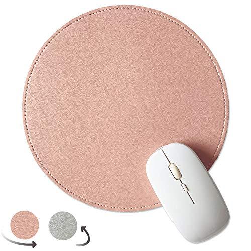 Alfombrilla de ratón de Cuero de PU, Alfombrilla de ratón de Escritorio Antideslizante de Doble Lado con Borde Cosido, Alfombrilla de ratón Impermeable de 22 x 22 cm Rosa y Plata