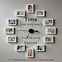 VODOE Wall Decals for Living Room, Family Wall Decals, Quote Photo Frame Clock Decor Bedroom Home Words Art Sayings Vinyl Wall Stickers About Time Spent with Family is Worth Every Second 18 x 20