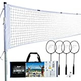 Franklin Sports Badminton Set - Backyard Badminton Net Set - Rackets and Birdies Included - Backyard or Beach Badminton Set - Professional Set, White (52633)