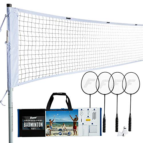 Franklin Sports Badminton Set  Backyard Badminton Net Set  Rackets and Birdies Included  Backyard or Beach Badminton Set  Professional Set White 52633