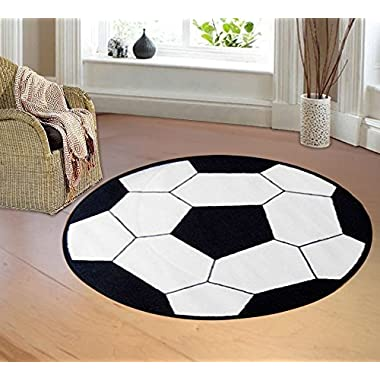 Furnish my Place 720 Soccer 3'3  Round Area Rugs, Red