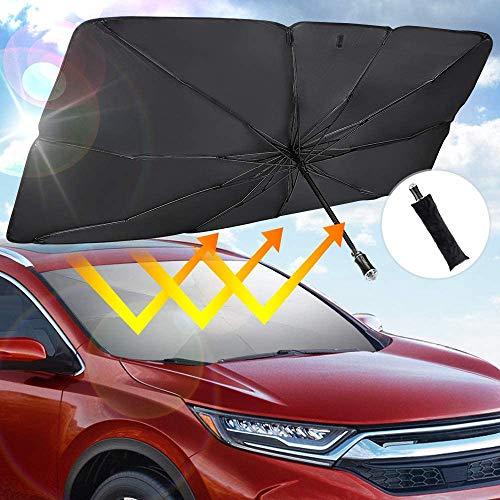 JOYTUTUS Parasole per Parabrezza, Pieghevole Ombrello Parasole per Auto per la Parabrezza Anteriore, Protezione Solare UV e Solare, con Martello di Sicurezza di Emergenza,142 * 79 CM