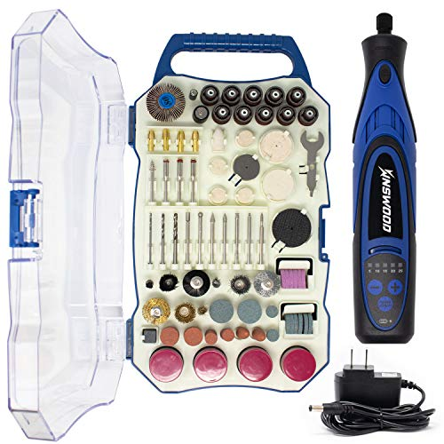 Kinswood Compatible with Rotary Tool 8V 900Ah Lithium Battery variable speed 300pcs Accessories & Shield Attachment, Long Endurance, Sanding, Grinding, Cutting & Engraving
