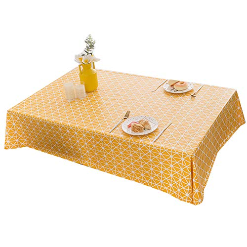 Tafelkleed Bedrukt tafelkleed Salontafel doek waterbestendig Olie resistent plastic Vierkante tafel en rond tafelkleed Diverse maten en kleuren,Yellow,140X180cm