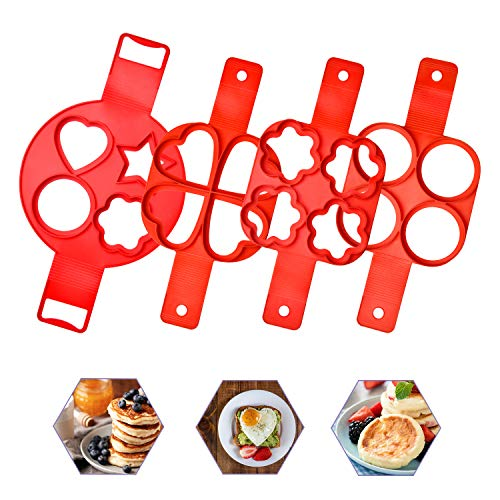 Pancake Making Mold Akamino Fried Egg Mold Reusable Silicone Pancake Maker with 4 Cavity (Heart Round Star) - 4 Pieces