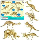 LRIGYEH 3D Wooden Dinosaurs Puzzles for Kids Wood Building Kits Including T-Rex, Brontosaurus, Spinosaurus, Triceratops, Stegosaurus and Parasaurolophus | STEM Toy Gift for Kids and Adults (Dinosaur)
