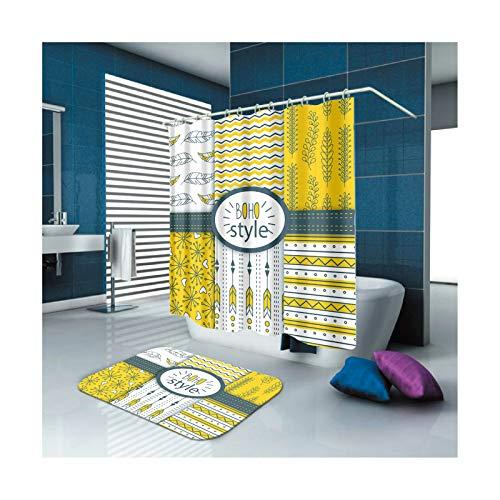 AmDxD Waschbar Polyester Duschvorhang & Badezimmer Teppich Blätter Design Badezimmerteppich Digitaldruck Bad Vorhang mit Duschvorhangringen für Badezimmer Badewanne Bunt 90x180CM