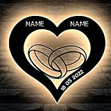 LEON-FOLIEN® Eheringe Herz LED personalisiert mit Wunschnamen und Datum Hochzeitsgeschenk Deko Herzchen Lasergravur Abendlicht für Verlobung Braut Schlummerlicht Nachtlicht Hochzeitstag Geschenke