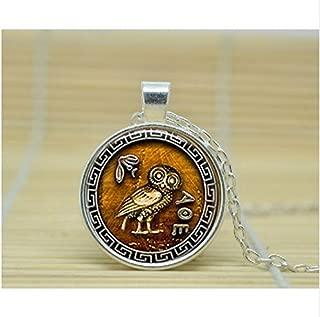 Athena's Owl pendant jewelry Glass Cabochon Necklace (1)