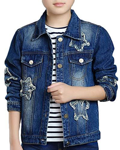 QitunC Kinder-Jeansjacke Weich Und Bequem Pentagramm-Muster Bedruckter Mantel Denim-Oberbekleidung Blau 120CM