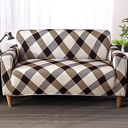 Funda Sofa 4 Plazas Chaise Longue Enrejado Fundas para Sofa ,Cubre Sofa Ajustables,Fundas Sofa Elasticas,Funda de Sofa Chaise Longue,Protector Cubierta para Sofá