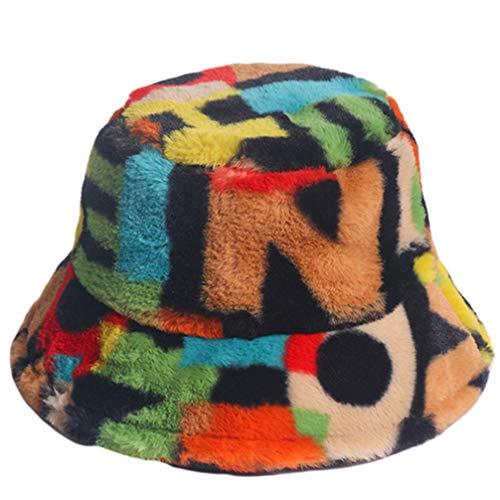 SOIMISS Sombrero de invierno Fuzzy para mujer, cálido, de peluche, con cubo de peluche