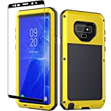 Galaxy Note 9 Case, Note 9 Heavy Duty Shockproof Hybrid Metal and Silicone High Impact Rugged Case and Tempered Glass Screen Protector [Full Screen Coverage] for Samsung Galaxy Note 9 (Yellow)