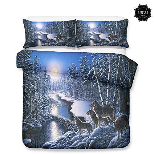 Chickwin Duvet Cover Set for Twin Full Queen King Size Bed, 3D Wolf Printed Microfiber Fantasy Style Bedding Sets Duvet Set with Pillowcases and Quilt case (Twin- 172x218cm -2pcs,Snow Wolf)