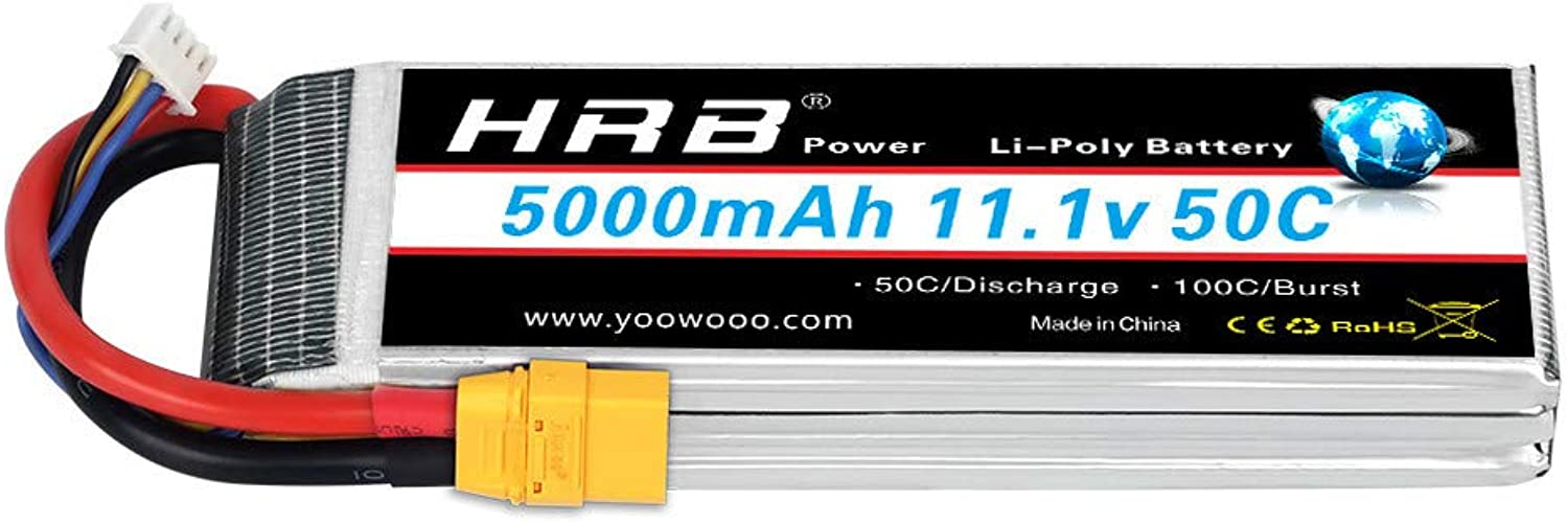 HRB 11.1V 5000mAh 3S 50C100C LiPo Battery Pack with XT90 Plug for RC DJI F450 Quadcopter RC Helicopter Airplane Hobby Drone and FPV