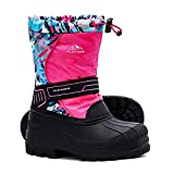 ALEADER Kids Snow Boots Girls, Isulated Waterproof Winter Warm Boots with Fur Pink Print 1 M US Little Kid