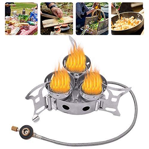 Estufa de Camping Gas Plegable, Hornillos portátiles Tres Núcleos Quemador de Cocina...