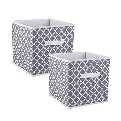 DII camz38463 plegable Tela almacenamiento contenedores (Juego de 2), 33 x 33 x 33 cm Entramado Gris