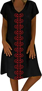 Women's Dresses Summer Style V-Neck Printed Cotton and Linen Casual Plus Size Dress