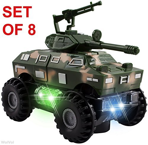 """WolVol Set of 8 Military Car Truck Toys with Lights and Sounds for Kids, Army Action with Bump & Go (Size of Each Vehicle is Approximately 5"""" x 3"""")"""