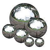 Acier Inoxydable Sans Soudure Gazing Boule Gazing Globe Miroir Creux Poli Boule Sphère Réfléchissant De Jardin 6 Pcs Ornements De Jardin En Plein Air