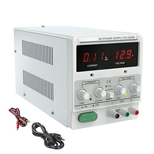 TOPQSC Variable de Fuente de alimentación de CC, Fuente de alimentación regulada de conmutación Ajustable Digital, 0-30V 0-5A/220V