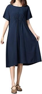 女性の緩い綿半袖ソリッドカラーのドレスろんぐ ぬりえ もこもこ ドレス やすい おおきいサイズ ドレス かみかざり