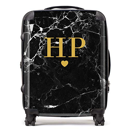 Personalised Black & Gold Marble Initials & Heart Monogram Suitcase with TSA Lock 4 Spinner Wheels Large Expandable Luggage 78cm 95Ltr
