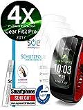 [4 Stück] Schutzfolien kompatibel mit Samsung Gear Fit 2 Pro - [Made in Germany - TÜV NORD] - Premium Schutz - volle Abdeckung - blasenfreie Aufbringung - HD-Klar - Wasser- und schmutzabweisend
