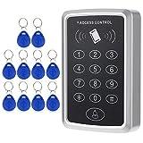 KKmoon 125KHz Sistema de Control Acceso de Puerta Tarjeta RFID de Proximidad Teclado Incluyen 10pcs ID Keyfobs hasta 1000 Usuarios