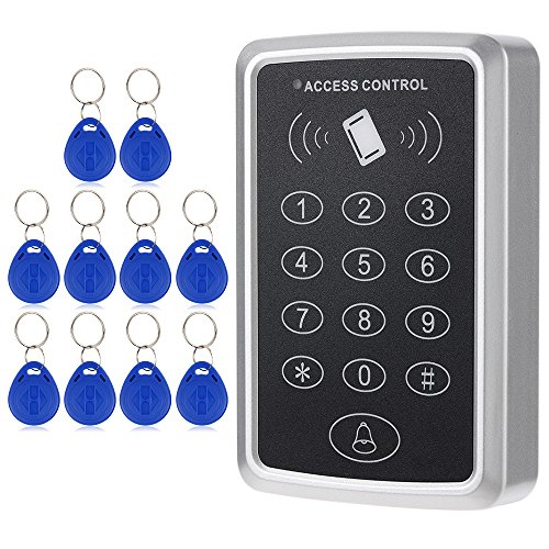 KKmoon RFID Karte Zutrittskontrollsystem Tastatur 125 KHz Einzelne Tür Proximity enthalten 10 Stücke ID Keyfobs