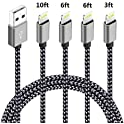 Firsting 4 Pack (3ft,6ft,6ft,10ft) Certified iPhone Charger