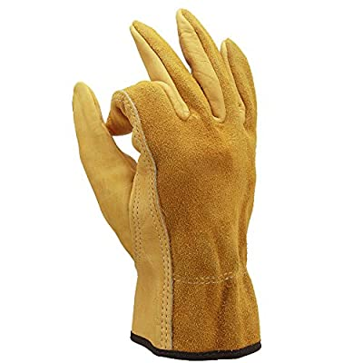 OZERO Leather Work Gloves Flex Extra Grip for Construction/Farming/Wood Cutting/Gardening