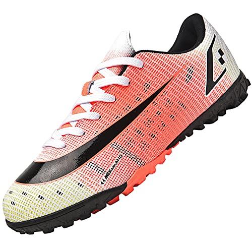 Dhinash Scarpe da Calcio Uomo Professionale Scarpe da Allenamento Scarpe da Calcetto Scarpe Sportive Bambini e Ragazzi Rosso 44EU