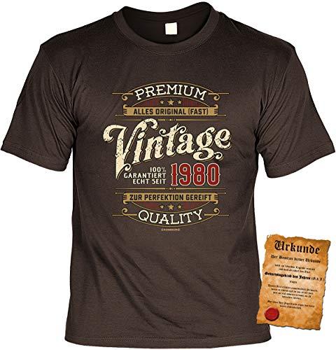 T-Shirt 40 Geburtstag - Geburtstagsshirt Sprüche Jahrgang 1980 : Vintage garantiert echt seit 1980 - Geschenk-Shirt zum 40.Geburtstag Frau/Mann + lustige Urkunde Gr: XL