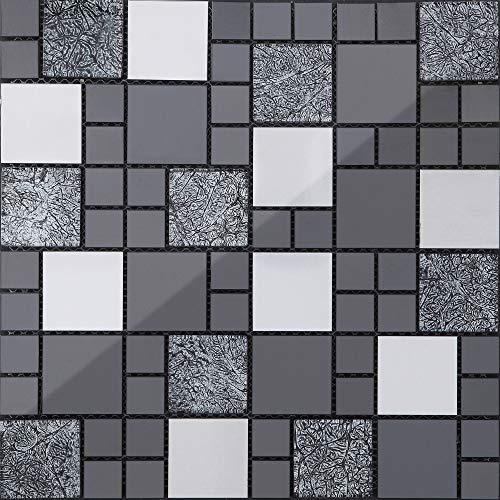 Mattonelle a mosaico in acciaio inox e vetro, in nero e argento, 30 cm x 30 cm x 8 mm (8mm), opaco (MT0002 m2)