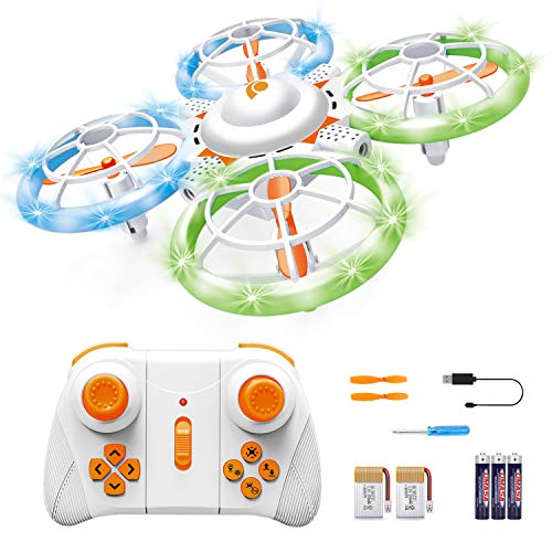 Sourcingbay Drone for Kids and Beginners - Mini Drones with LED Lights for Training RC Helicopter Quadcopter with Extra Batteries 3D Flips One Key Take Off/Landing Toys for Boys and Girls