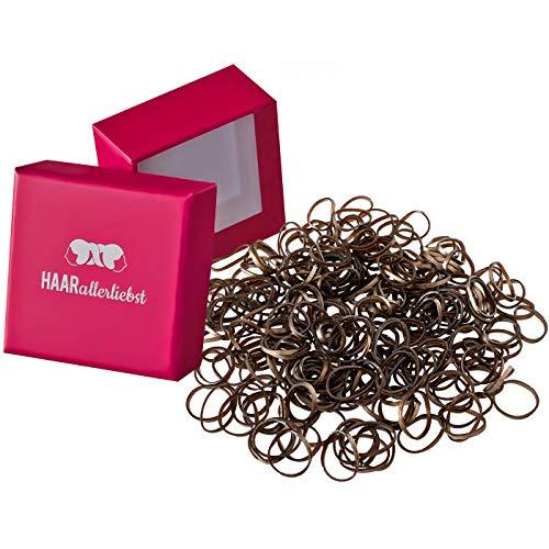 HAARallerliebst Haargummis Gummibänder mini klein (250 Stück | braun | 1cm) inkl. Schachtel zur Aufbewahrung (dunkelbraun mit Goldrand; Schachtelfarbe: pink)