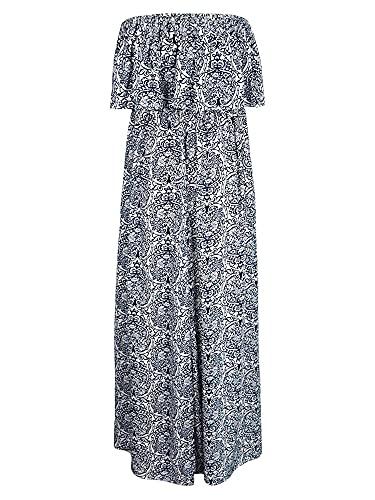 Vestido largo sexy de las mujeres de una línea de vestido de impresión vintage volantes fuera del hombro, Blanco y azul., XL