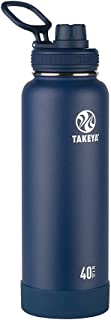 Takeya 51004 Actives Insulated Stainless Steel Water Bottle with Spout Lid, 40 oz, Midnight