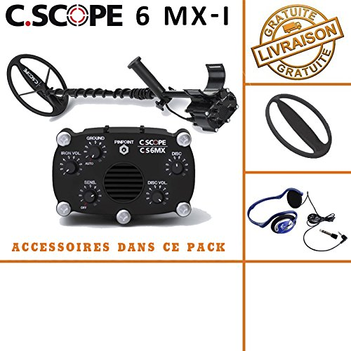 C-scope. Detector de metales CS 6MX con protege disco y casco de audio