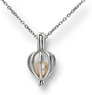 Pearlina Cage Cultured Pearl Oyster Necklace Set Rhodium Plated Heart Locket w/Stainless Steel Chain,18