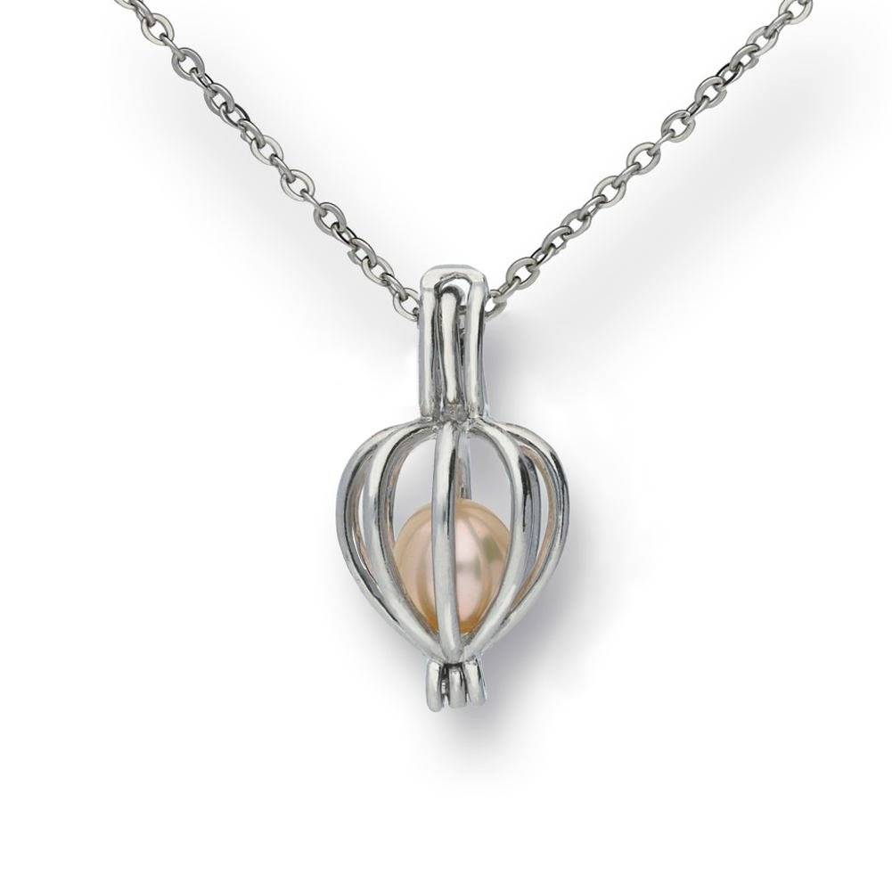 Pearlina Turtle Necklace Cultured Pearl in Oyster Set Silver tone Plated Cage